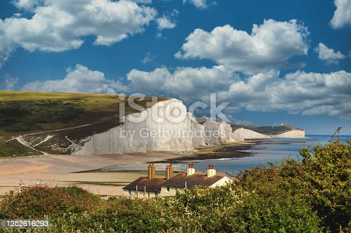 Seven sisters country park tall white chalk cliffs, East Sussex, UK.