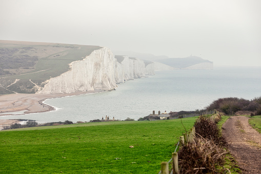 Winter view of the iconic chalk cliffs on the South Downs in East Sussex, England