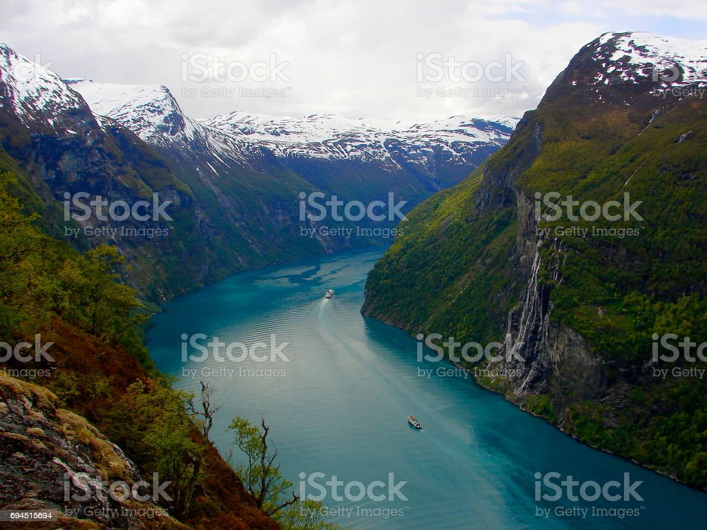 Seven Sisters Waterfall from Norway impressive GeirangerFjord from above, Norwegian dramatic landscape, Scandinavia – Nordic Countries stock photo