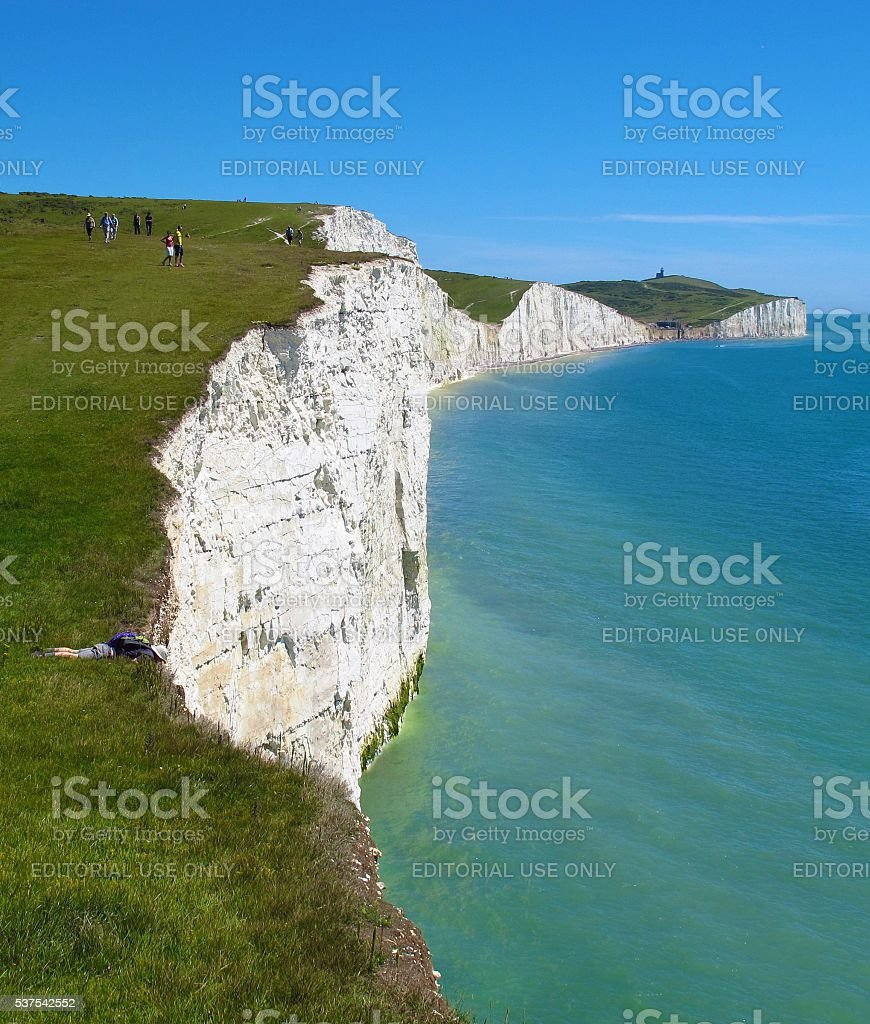 Seven Sisters white cliffs East Sussex England stock photo