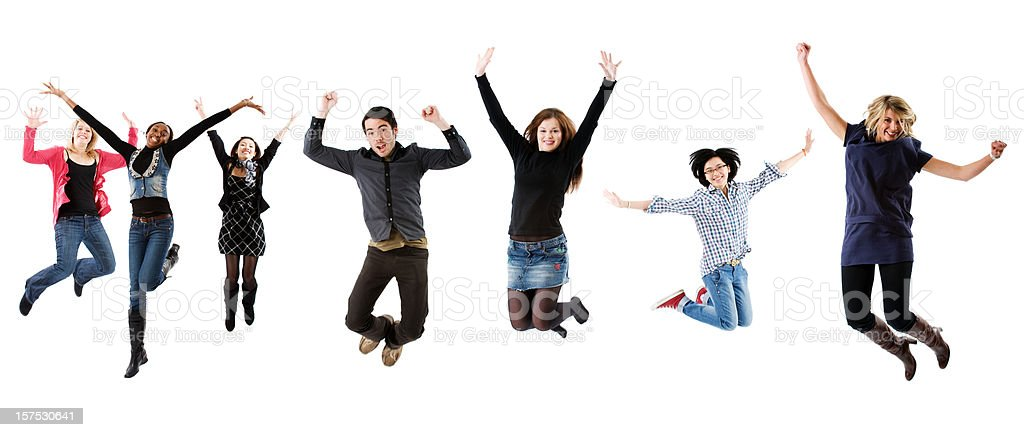 Seven students jumping royalty-free stock photo