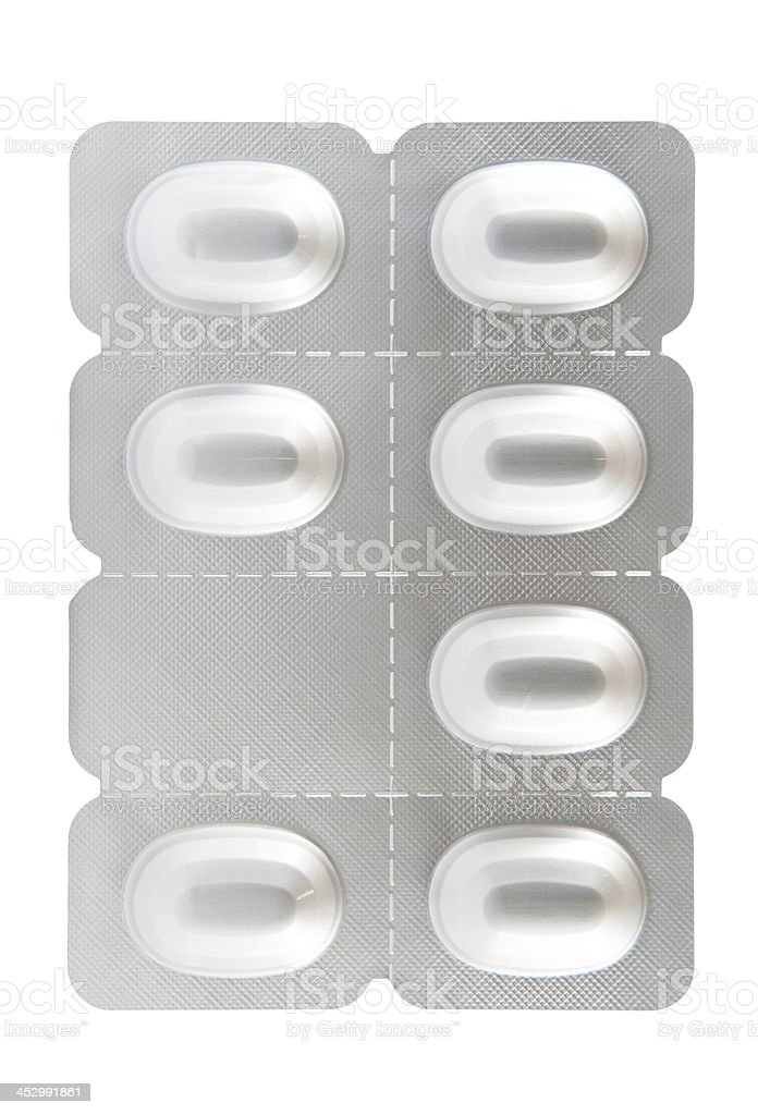 Seven tablet aluminum blister pack royalty-free stock photo