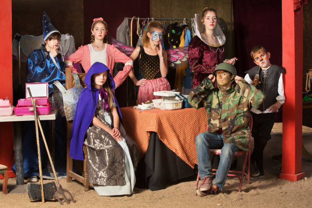 Seven theater students in dressing room stock photo
