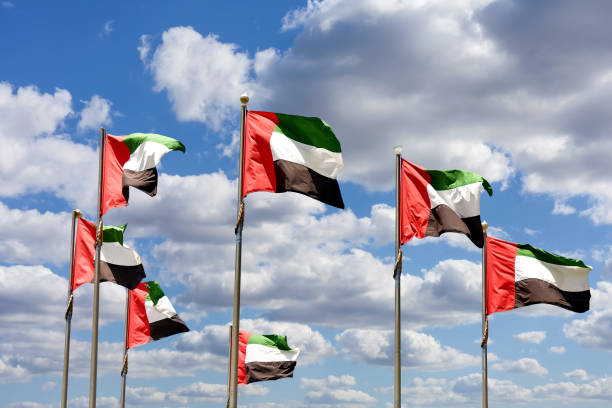 seven united arab emirates flags against blue sky with clouds. - uae flag stok fotoğraflar ve resimler