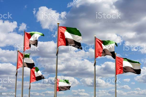 Seven United Arab Emirates Flags Against Blue Sky With Clouds 照片檔及更多 7號 照片