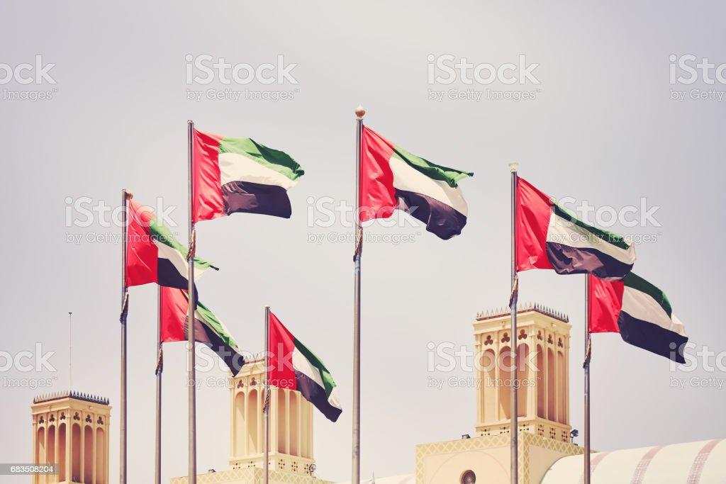 Seven United Arab Emirates flags, United Arab Emirates. - 免版稅7號圖庫照片