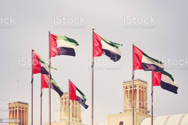 Seven United Arab Emirates Flags United Arab Emirates 照片檔及更多 7號 照片