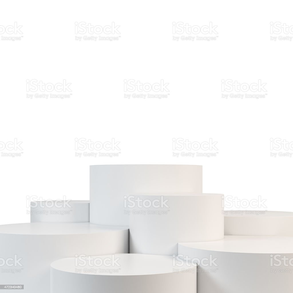 Seven white cylinder shapes steps that make up a stage  stock photo