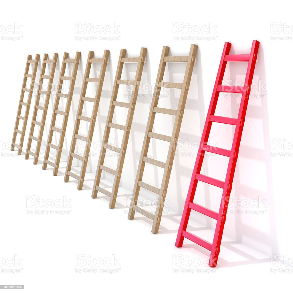 Seven wooden ladders leaning against a wall, one is red stock photo