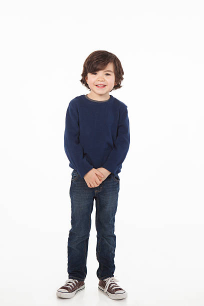 Seven Year Old Boy on White Background. stock photo