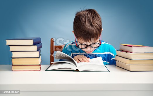683105722 istock photo seven years old child reading a book 683094662