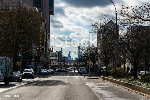 458128003 istock photo Seventh Avenue (Fashion Avenue) and known as Adam Clayton Powell Jr. Boulevard in harlem, New York City 1156224691