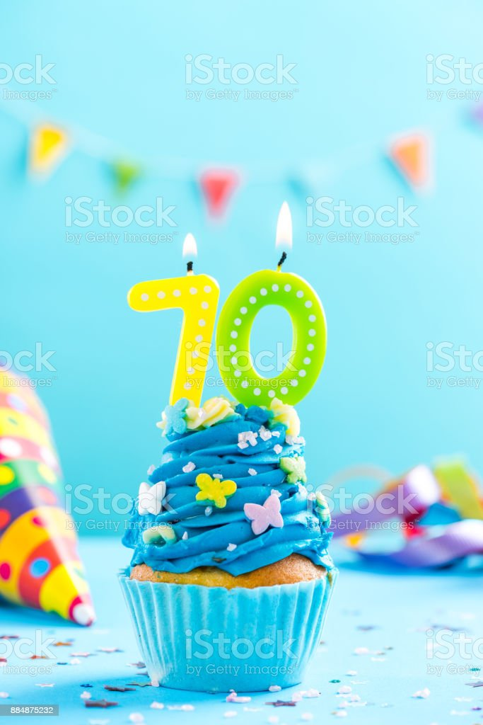 seventieth 70th birthday cupcake with candle card mockup stock photo