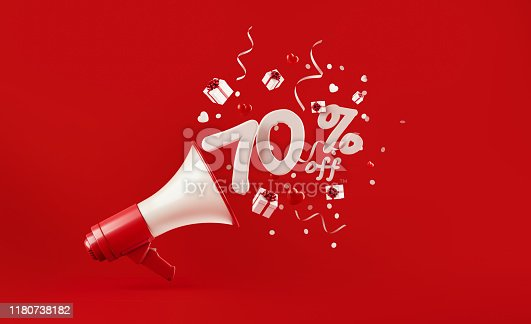 istock Seventy Percent Off Coming Out of  A Megaphone with Gift Boxes Paper Confetti and Party Streamers Falling on Red Background 1180738182