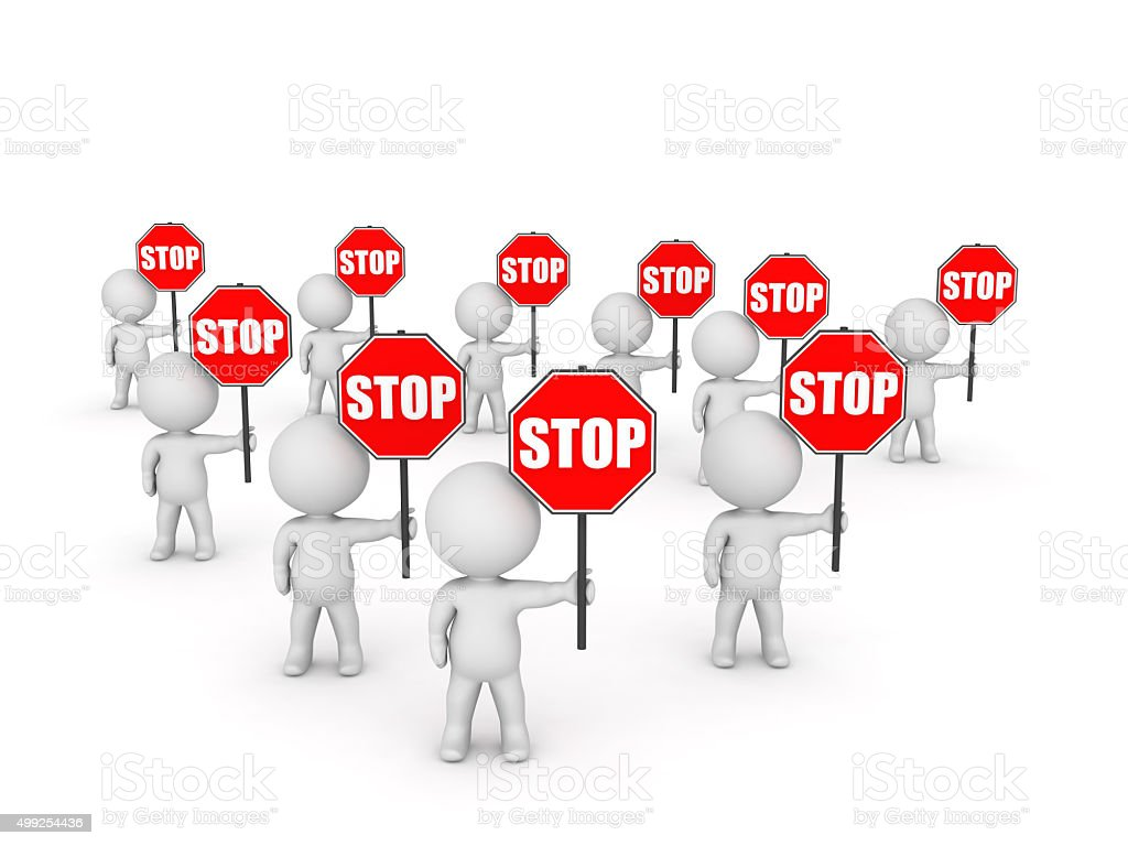 Several 3D Character Holding Stop Signs stock photo