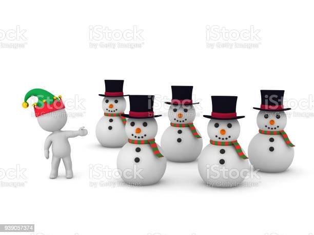 Several 3D Snowmen and Character in Elf Hat