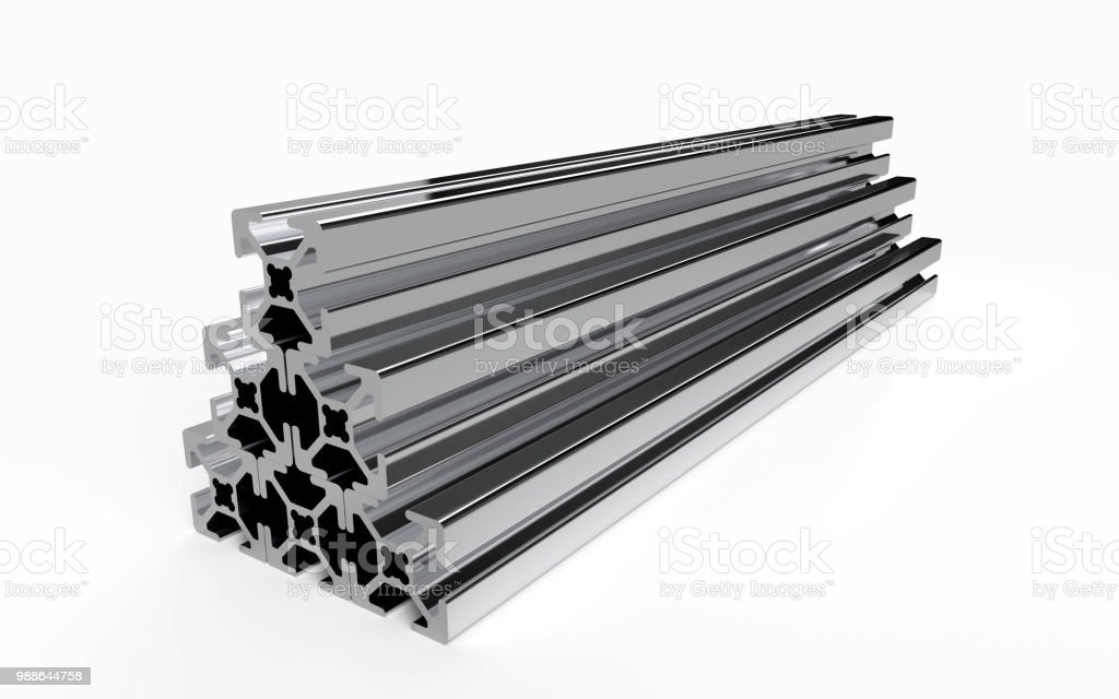 Several aluminum profile Several aluminum profile accessory isolated on white background. 3D rendering. Alloy Stock Photo