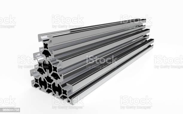 Several Aluminum Profile Stock Photo - Download Image Now
