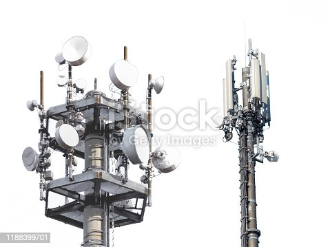 istock several antennas isolated on white background 1188399701