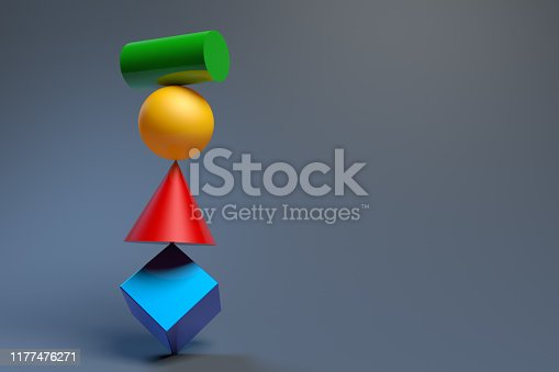 Several balancing geometric shapes. 3D rendering