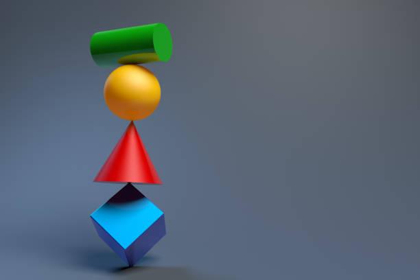 verschillende evenwichtige geometrische vormen. 3d-rendering - breekbaarheid stockfoto's en -beelden