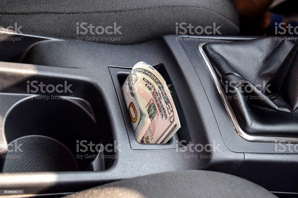 Several banknotes American dollars lie stock photo