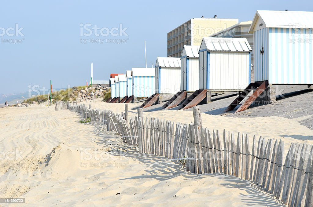 Several beach huts at Hardelot, Le Touquet, France stock photo