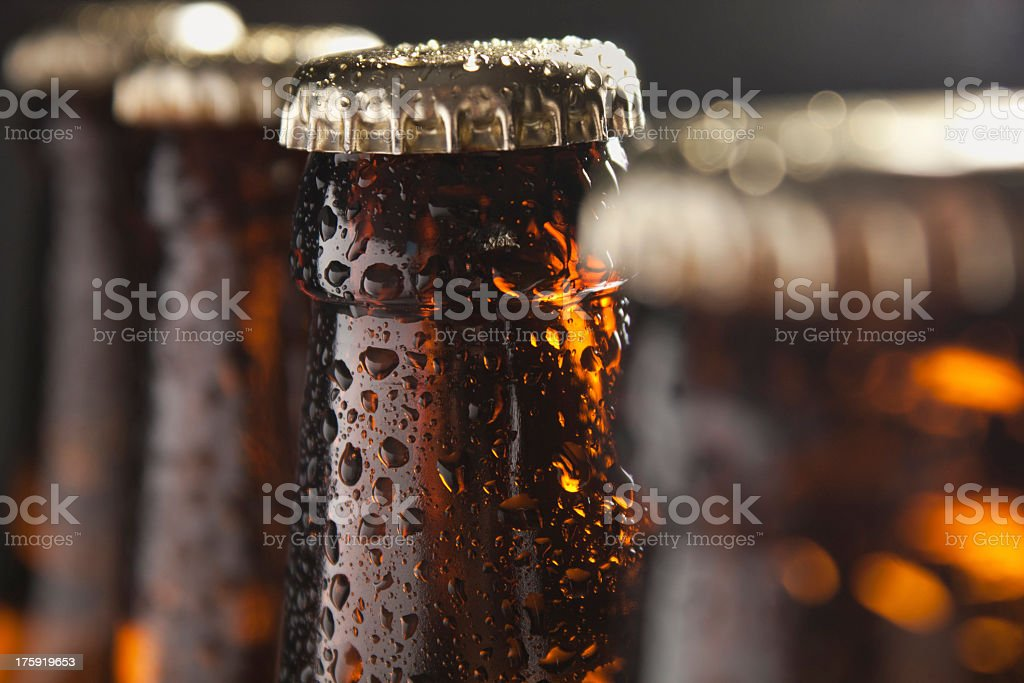 Several beer bottles with condensation stok fotoğrafı