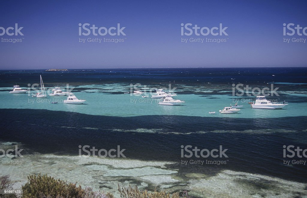 Several boats afloat around Rottnest Island stock photo