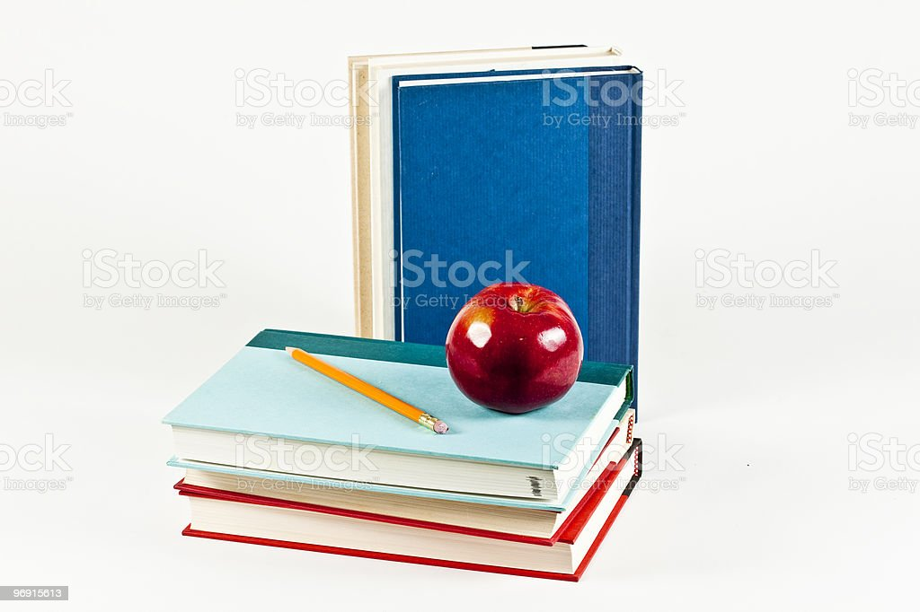Several Books and a Snack royalty-free stock photo