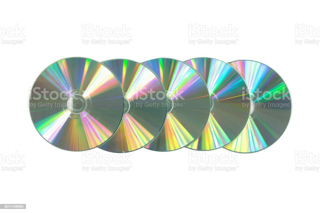Several CD / DVD on isolated white background. Top view stock photo