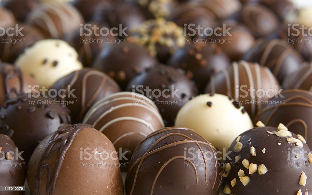 Several chocolate truffles for background image stock photo