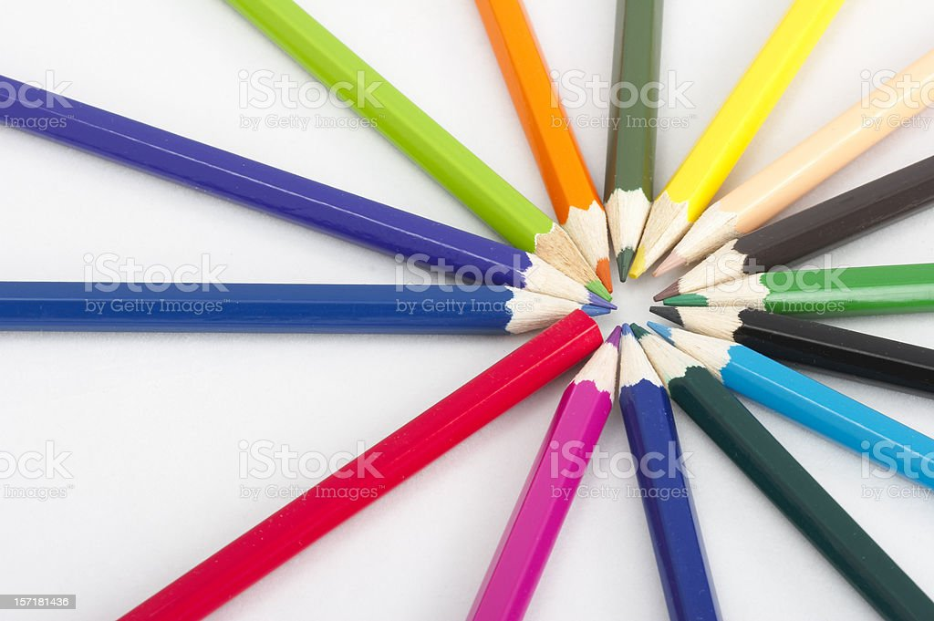 Several colored pencils making a circle royalty-free stock photo