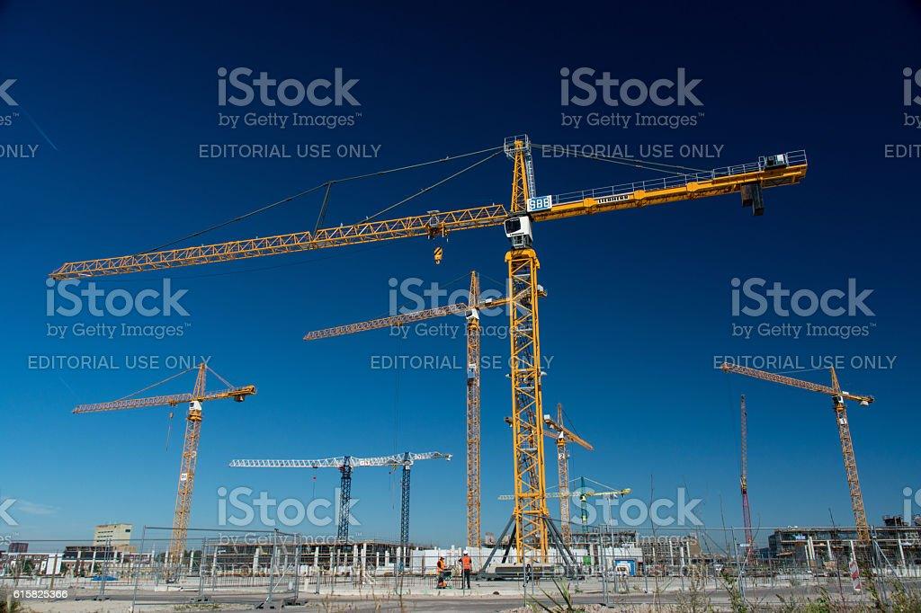 Several cranes at construction site in Leidsche Rijn, Utrecht stock photo