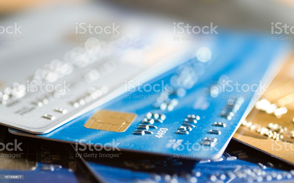 Several Credit Cards Selective Focus stock photo