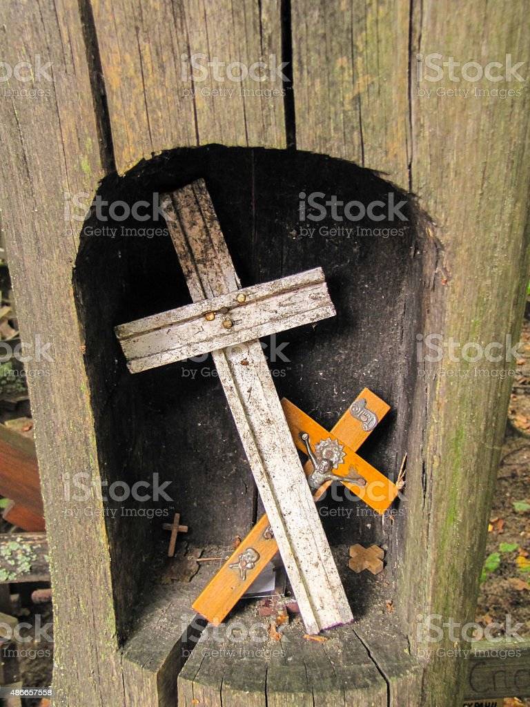 several crosses in a hollow tree, Garbarka stock photo