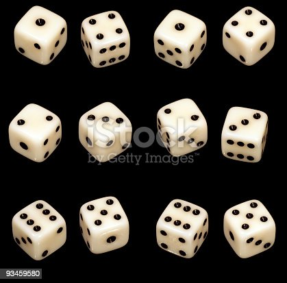 istock Several dice combinations and orientations on black 93459580