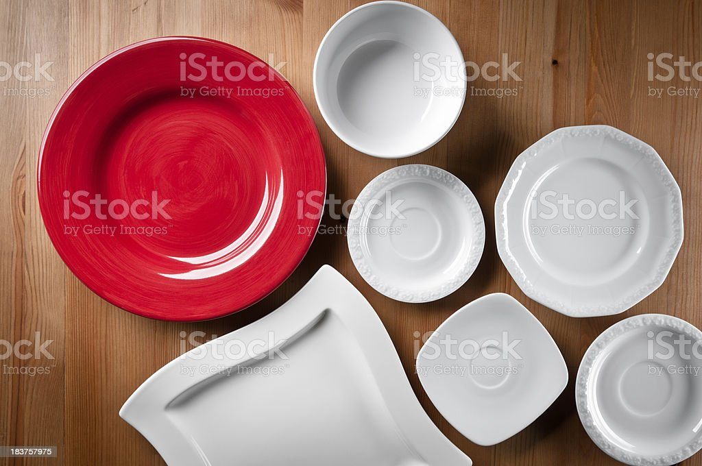 Several different empty plates stock photo