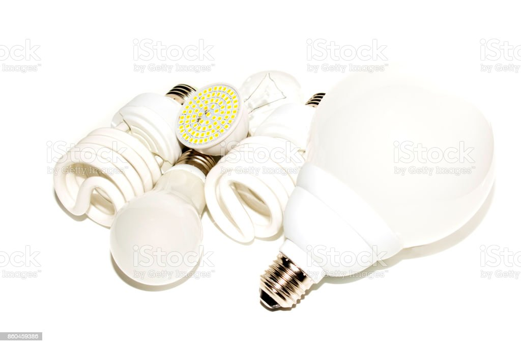 Several different led bulbs and compact fluorescent lamps stock photo