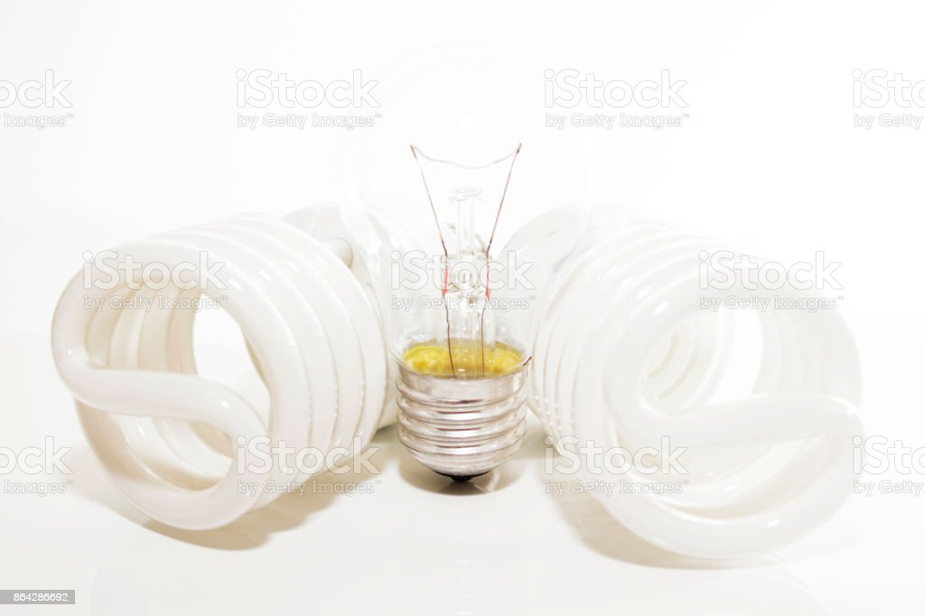 Several different led bulbs and compact fluorescent lamps royalty-free stock photo
