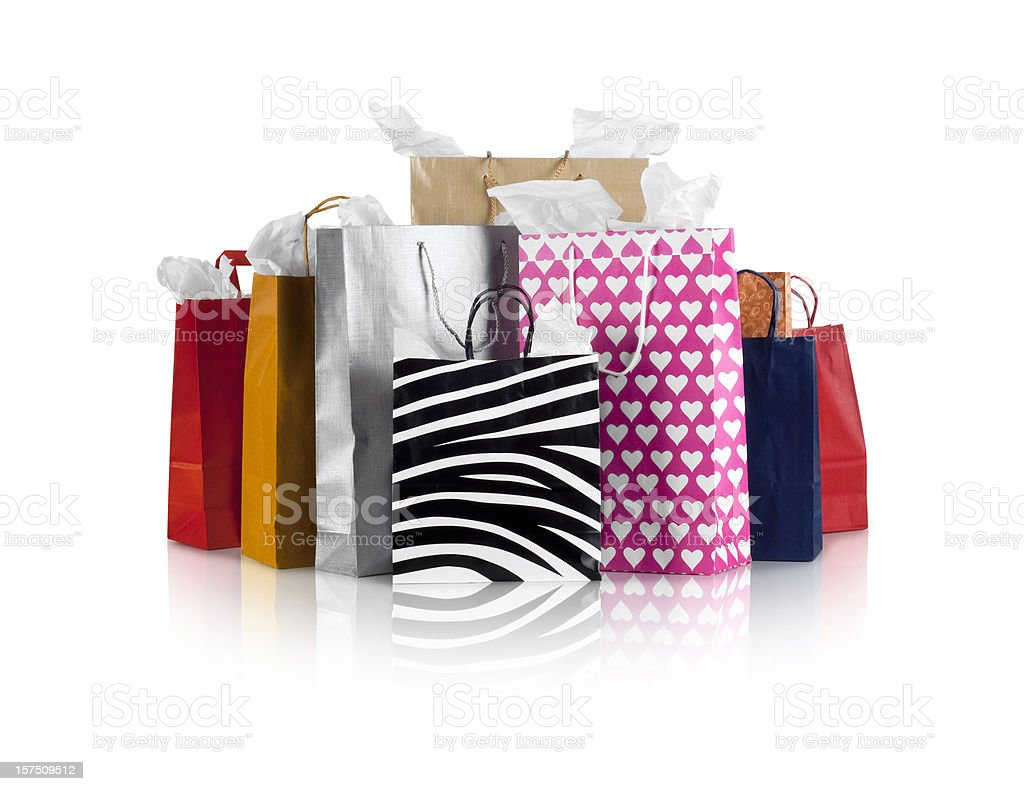 Several different various shopping bags stock photo