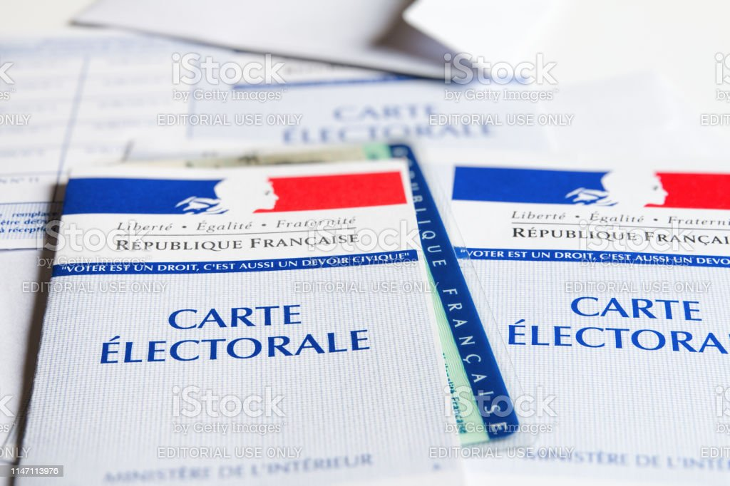 Several French Electoral Voter Cards Official Government Allowing