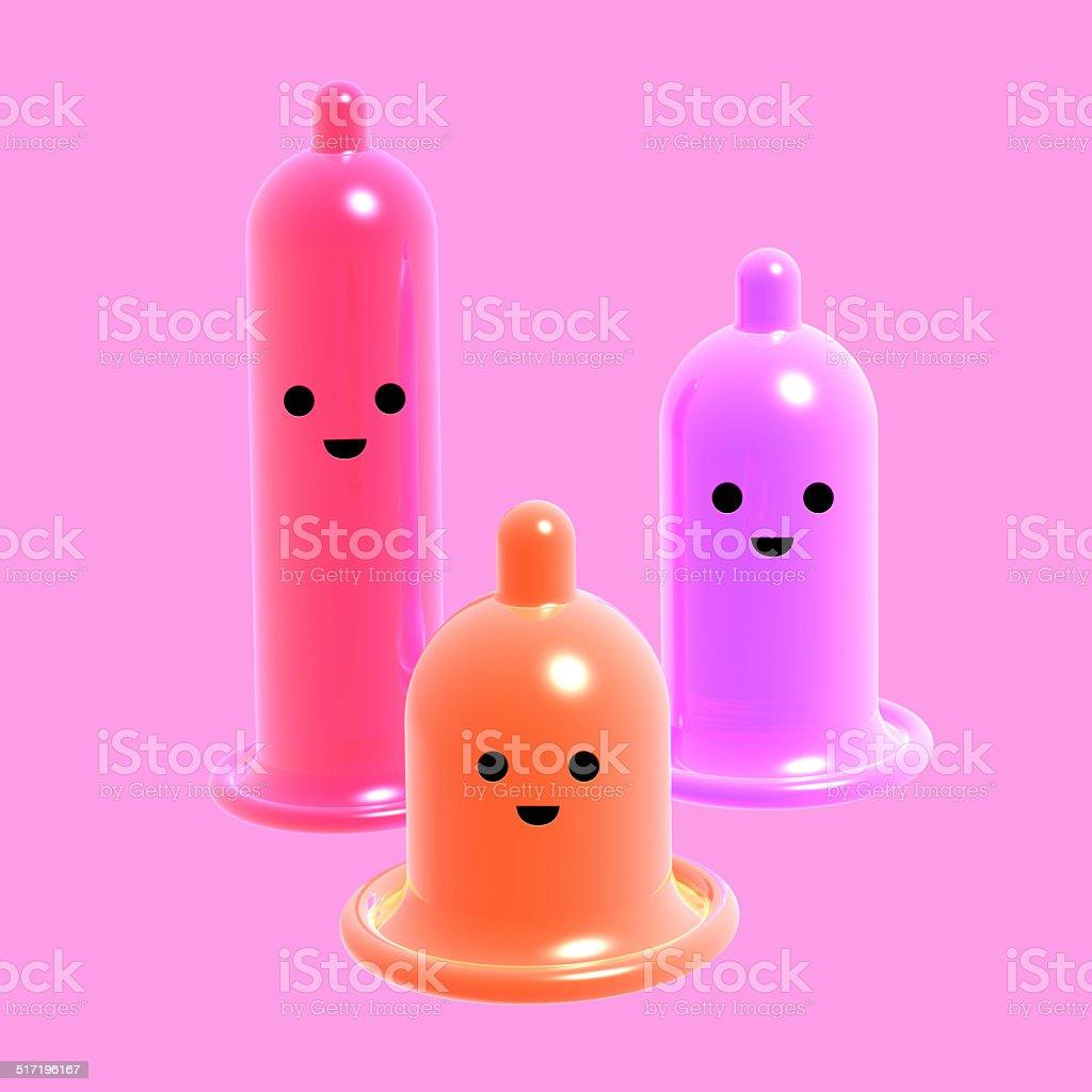 Several fun condom color stock photo