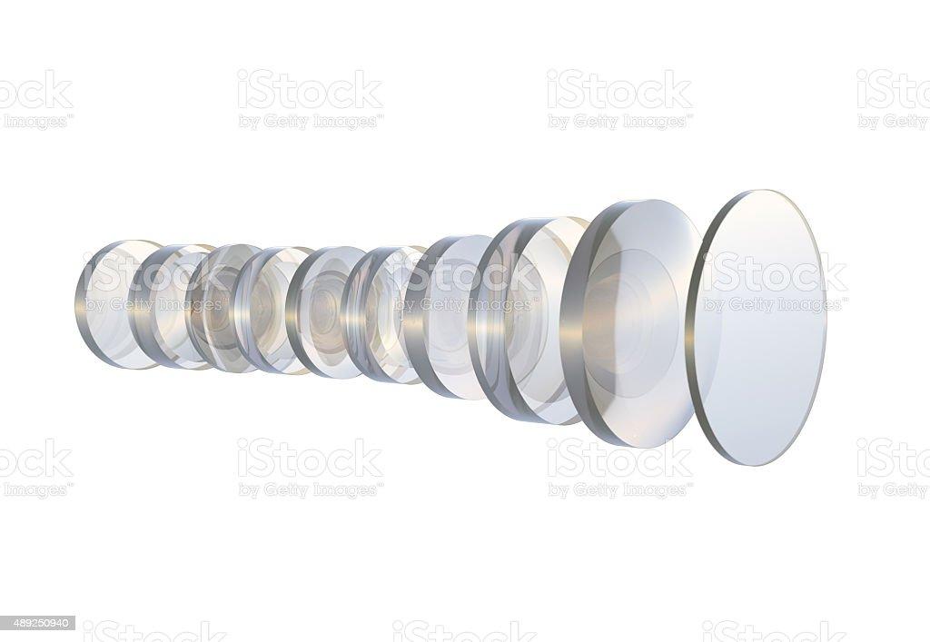 Several glass lens camera stock photo