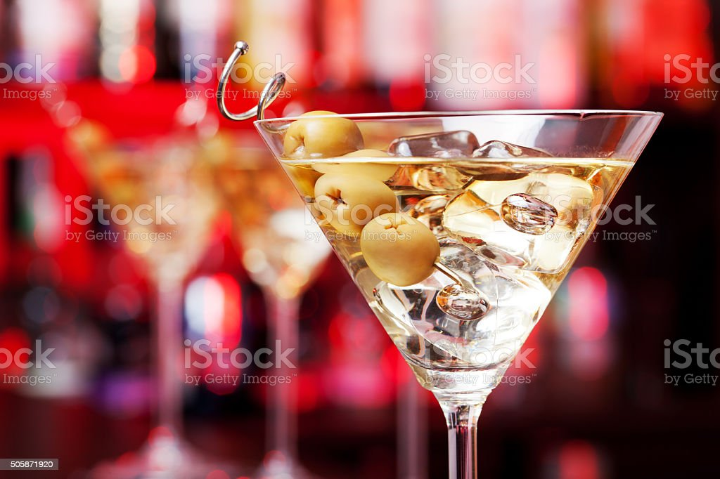 Several glasses of famous cocktail Martini stock photo