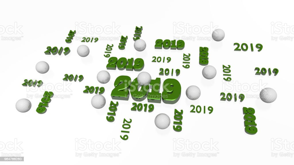 Several Golf 2019 Designs with Some Balls royalty-free stock photo