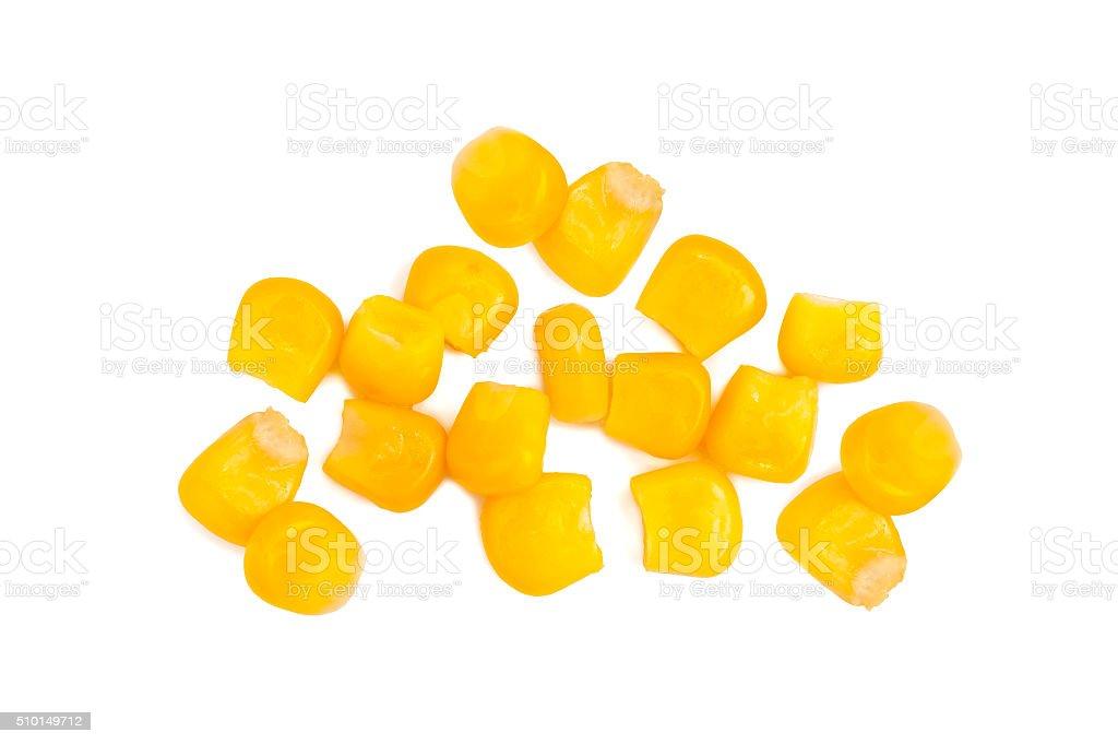 Algunos granos de enlatado maíz aislado - foto de stock