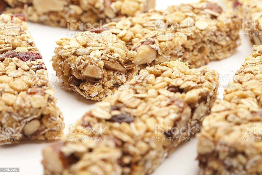 Several Granola Bars Isolated on White stock photo