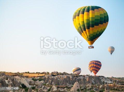 844061492 istock photo several hot air balloons rising over Cappadocia 1178372408