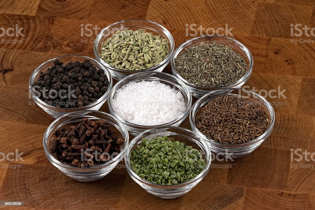 several indian spices in glass bowls royalty-free stock photo